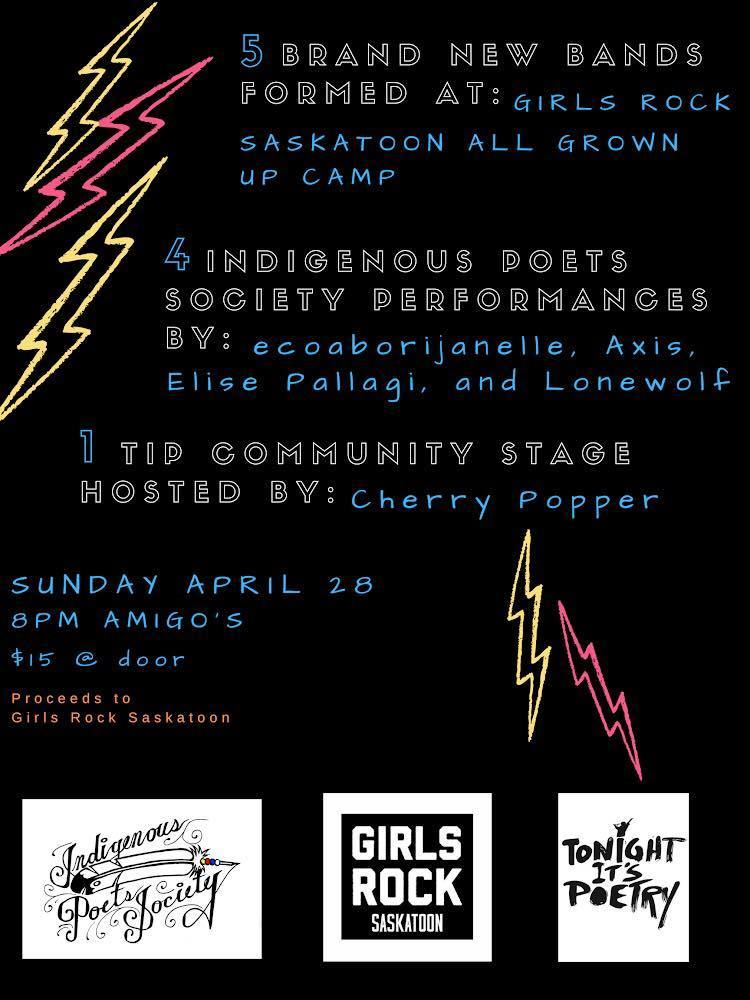 Girls Rock Camp Saskatoon - All Grown Up Event at Amigos - April 27 2019
